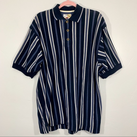 Vintage Other - Vintage | 80's Blue White Striped Polo Shirt